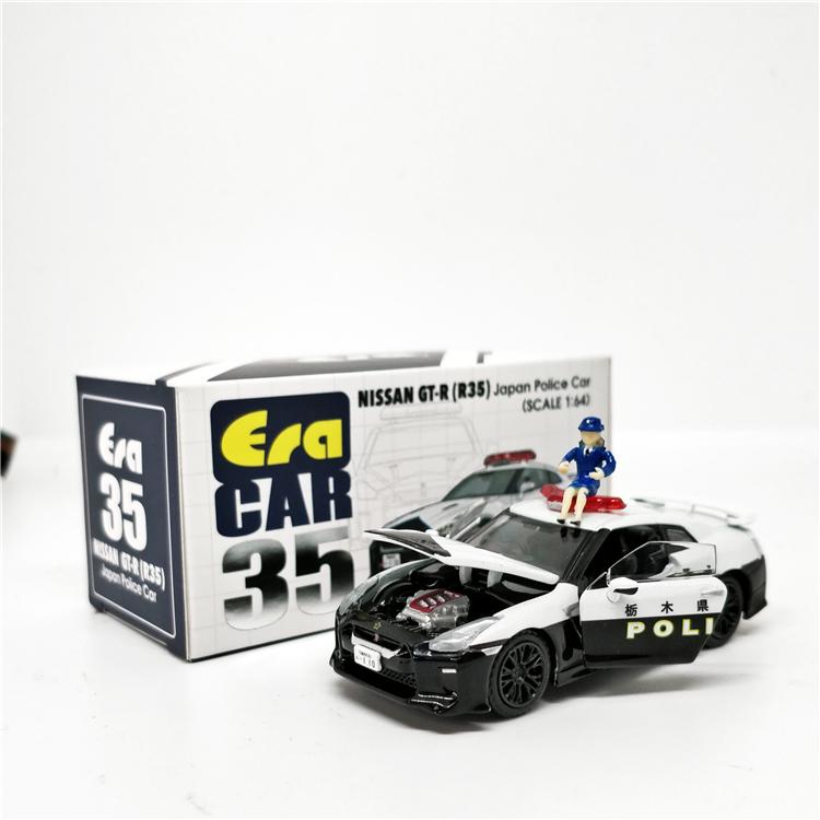 NISSAN Eracar 1: 64 日產 Gt-R35 日本警車, 帶警察娃娃壓鑄模型車
