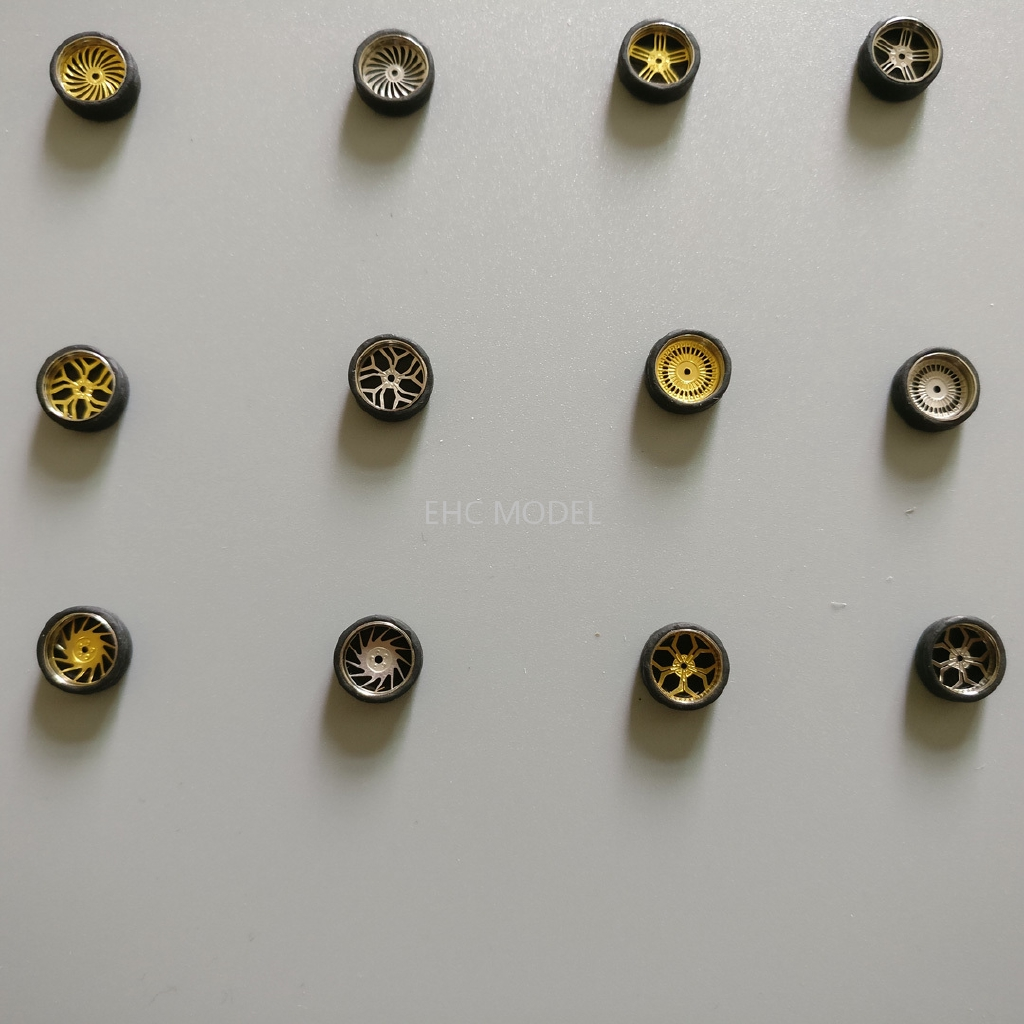 🚕EHC🚗1/64 改裝輪胎 前小后大 合金車模型改裝配件 金屬輪轂 橡膠輪胎 金色銀色 007-012 Alloy