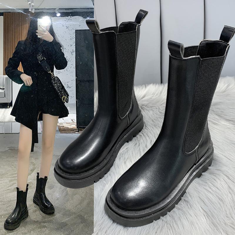 【韓式女生中筒靴休閒鞋】厚底馬丁靴女英倫風2020新款秋冬季加絨煙筒靴網紅中筒切爾西短靴