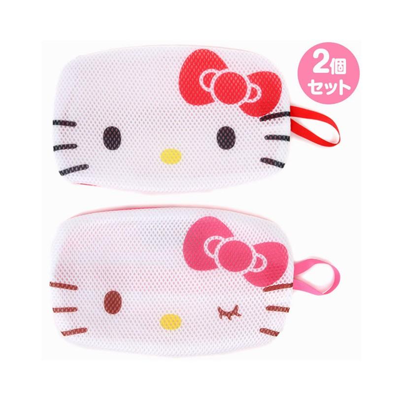 Hello Kitty紅色大臉扁平型手提口罩網袋組/口罩護洗袋/洗口罩(2入/組)/今日最便宜/貨到付款/現貨供應/禮物