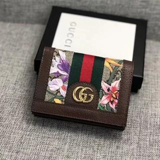 Gucci古馳錢包 皮夾 對折短夾Ophidia雙GG拼色花卉圖案錢包 Card Case 卡夾 真皮零錢包 女生短夾