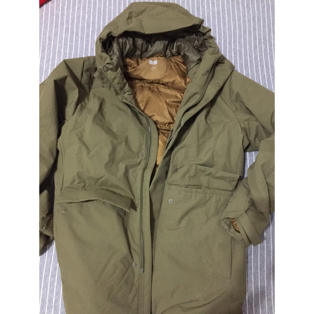 uniqlo hybrid綠羽絨大衣。男M。