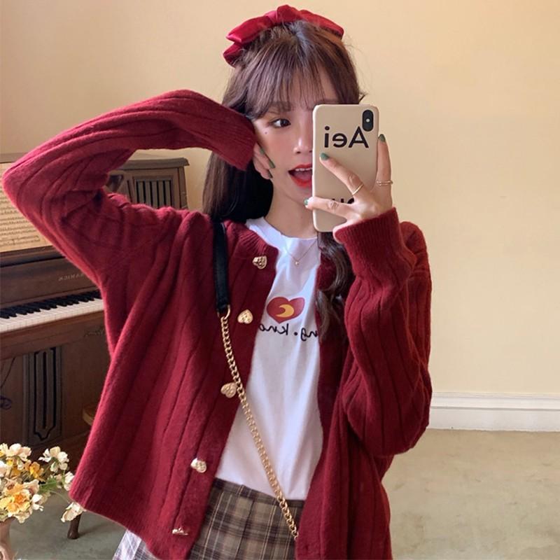 針織外套 紅色桃心小款針織開衫女短款2020春秋新款韓版寬鬆顯瘦毛衣外套薄