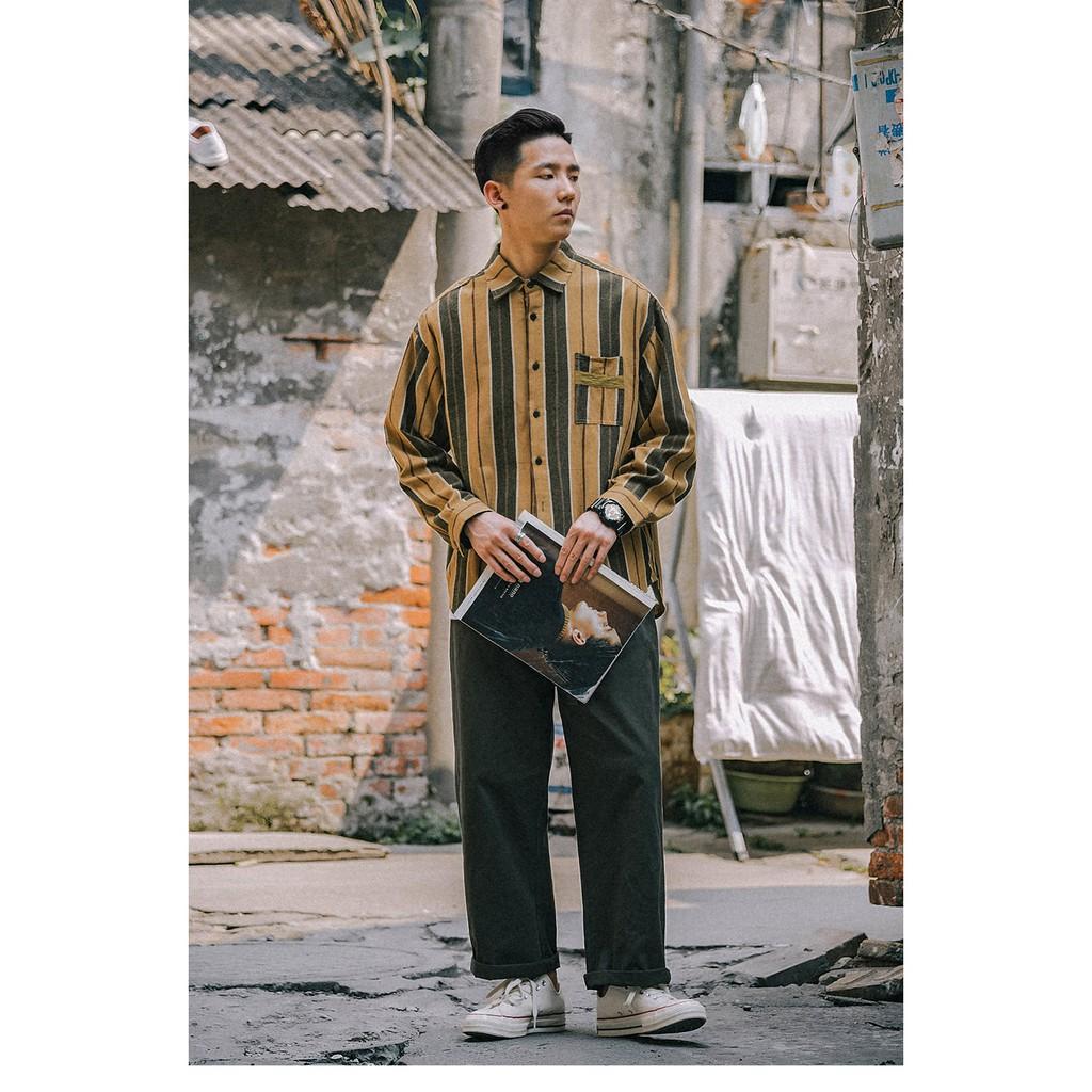 ■BI小版男裝■日系豎條紋復古休閒長袖襯衫