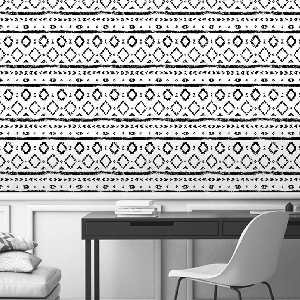 黑白幾何圖案 自粘防水壁貼客廳電視背景牆貼簡約風壁紙翻新改造必備