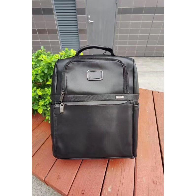 【包の范特西】新款 TUMI 9603177D3 Alpha3系列簡約休閑男士真皮雙肩背包 15吋電腦包 後背包 黑色