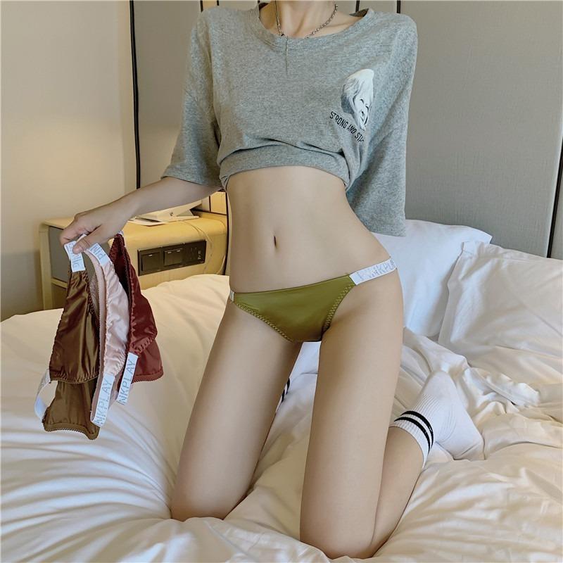 秋季港味甜美少女運動風性感純棉襠比基尼鑽條織帶提臀三角內褲子