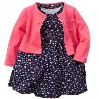 美國購回正品 Carter's 桃紅小外套+碎花包屁洋裝 現貨12m 臺北市