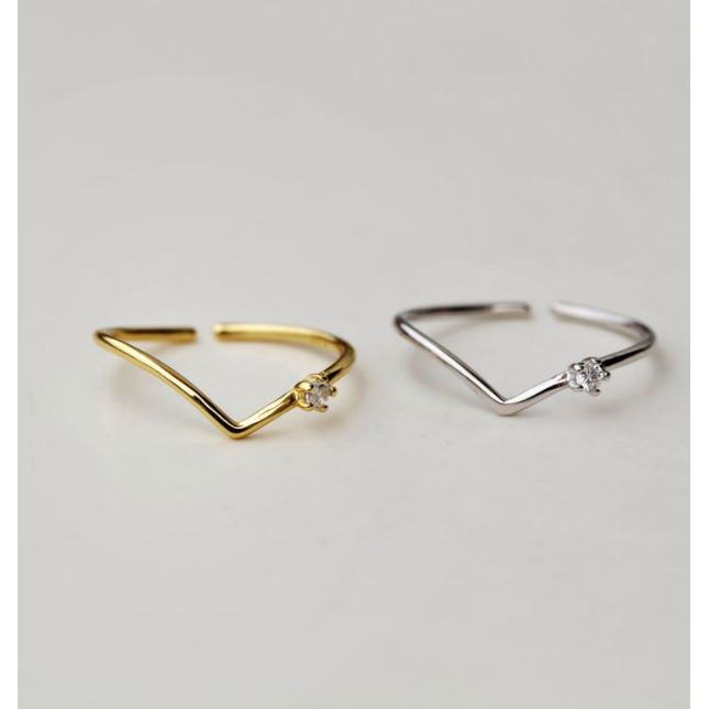 【KELRA】S925北歐風曲線V小鑽純銀戒指