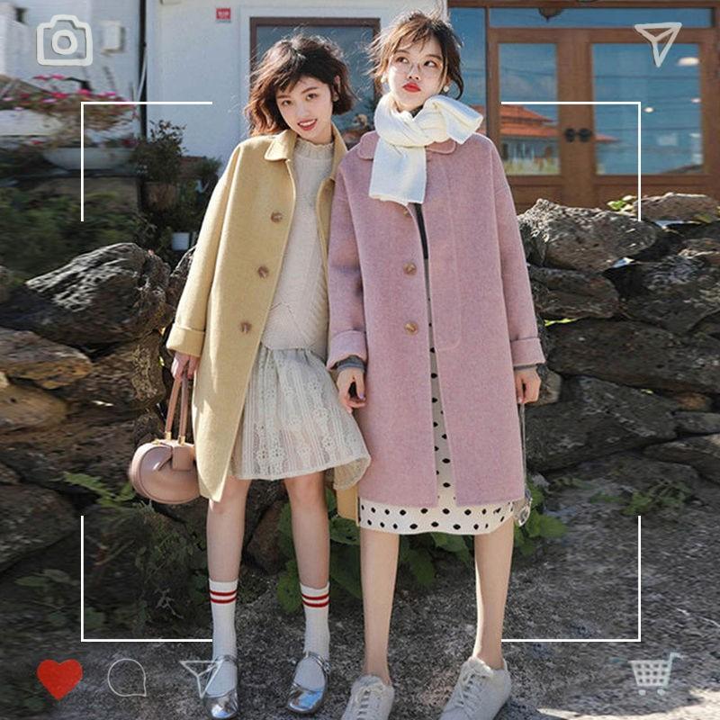 大衣 毛呢大衣 韓版大衣 毛呢外套 雙面羊絨毛呢外套女韓版學院風粉色冬季加厚大衣小個子中長款