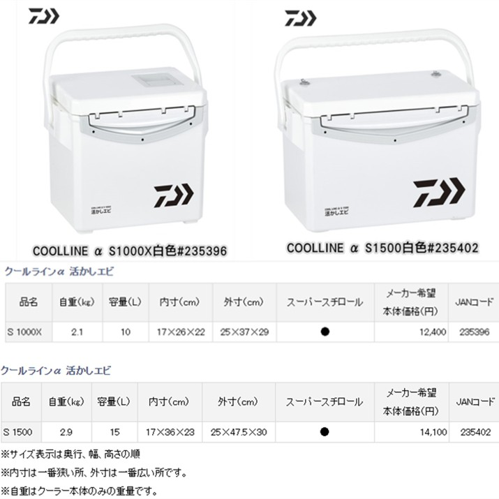 《三富釣具》DAIWA COOLLINE α冰箱 S1000X/S1500 非均一價 *請勿直接下標 下標前請先聊聊詢問