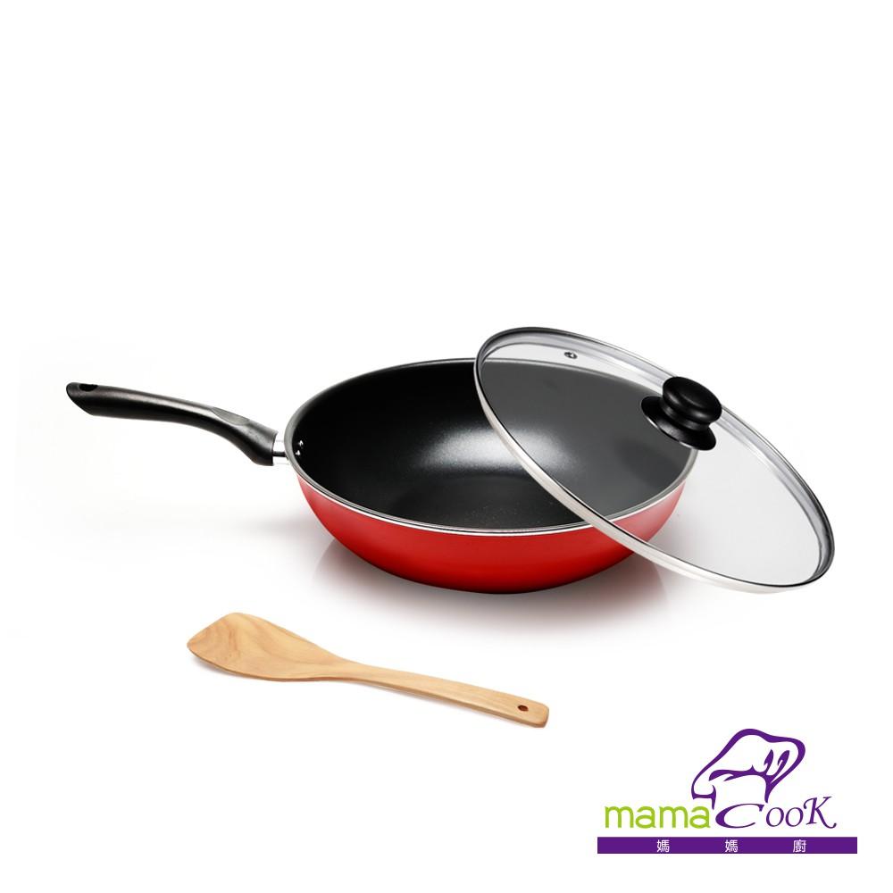 【義大利Mama cook】亮麗紅黑陶瓷不沾炒鍋三件組(32cm附蓋)