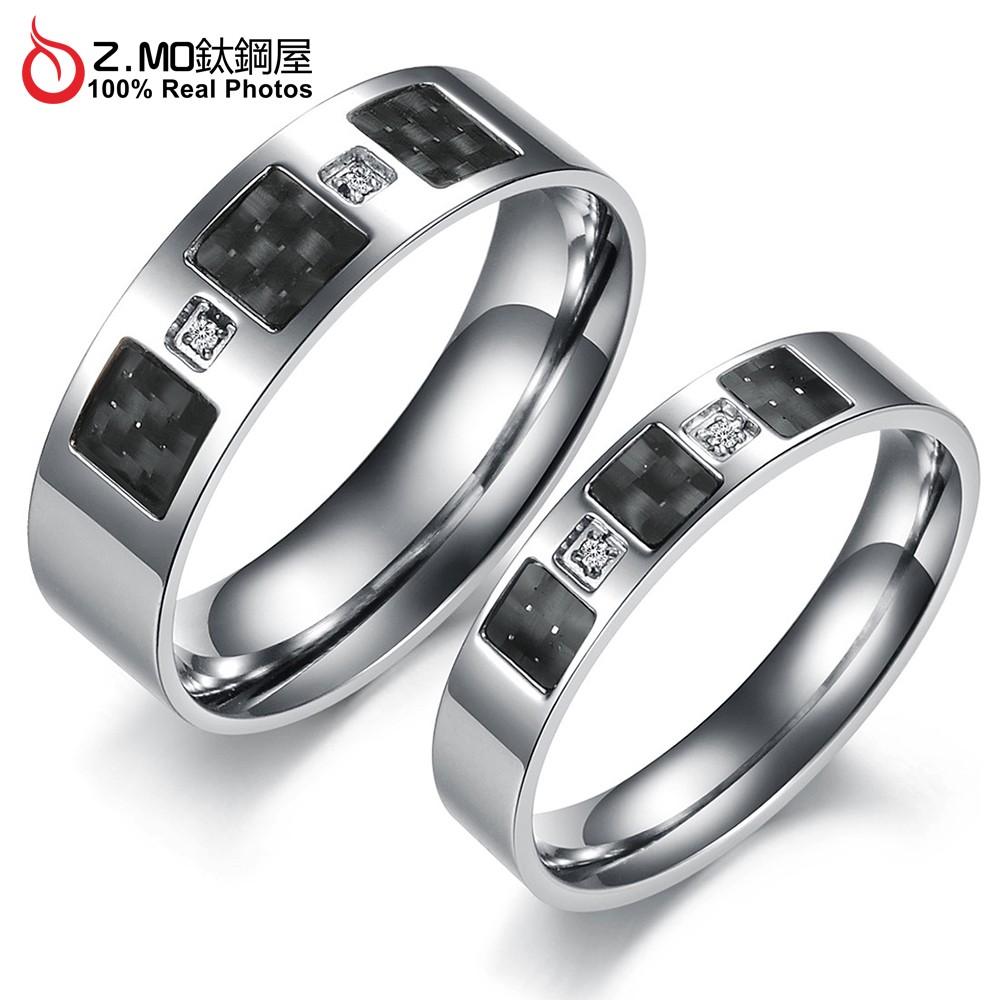 情侶對戒指 Z.MO鈦鋼屋 戒指 情侶戒指 白鋼對戒 鈦鋼戒指 可刻字 水鑽戒指 生日送禮 交換禮物【BKY375】