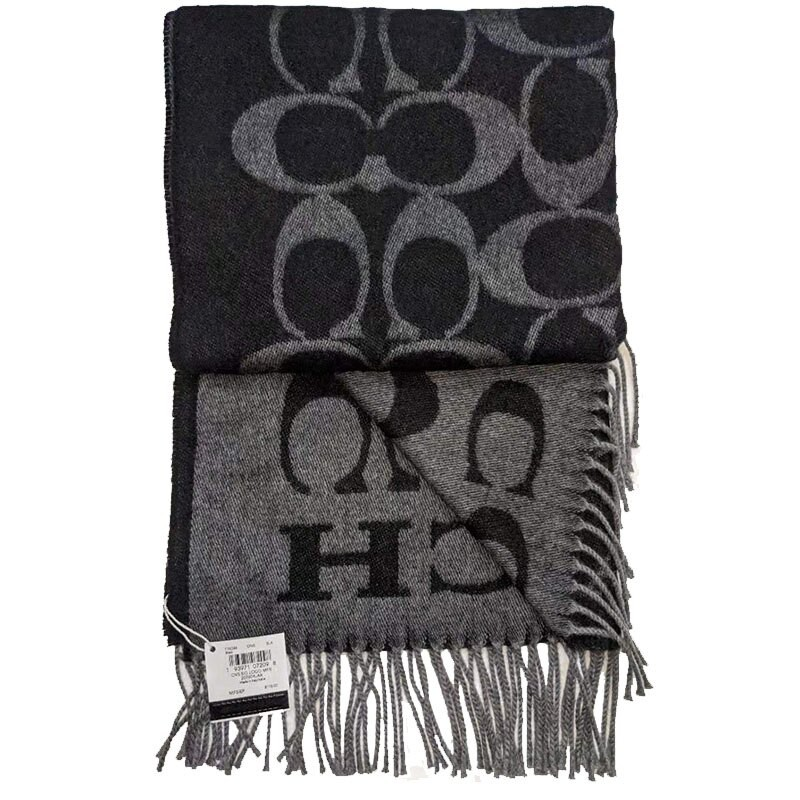 COACH 女士圍巾LOGO索爾羊毛Outlet F76384(2色現貨)