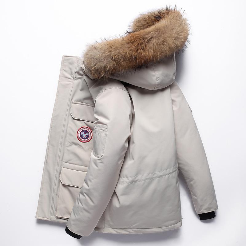優品匯01 男士羽絨服 90%白鴨絨真毛領大鵝羽絨服 男加厚鵝絨加拿大工裝服 情侶羽絨外套