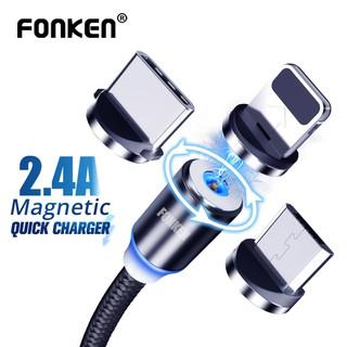 磁性 2.4a Micro Usb 電纜快速充電 C 型 /  Ios /  Micro 360 圓形磁鐵充電器線,  帶 L