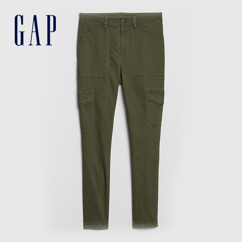 Gap 女裝 棉質微彈側邊口袋休閒褲 527502-軍綠