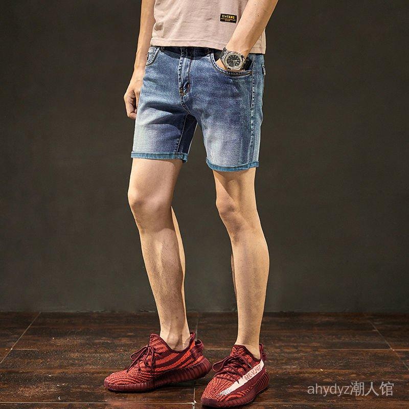 薄款三分牛仔短褲男生夏季休閒彈力修身寬鬆韓版五分牛仔中褲男