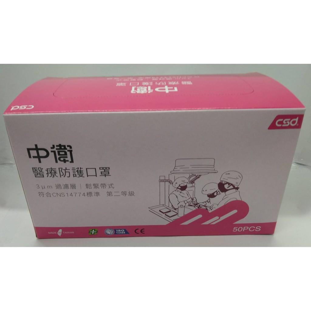 中衛二級醫療防護口罩/50入(粉紅色)
