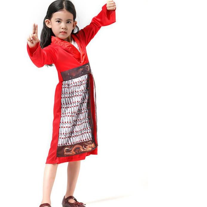 新版真人電影花木蘭兒童女孩人物造型角色扮演演出服裝萬圣節裝扮