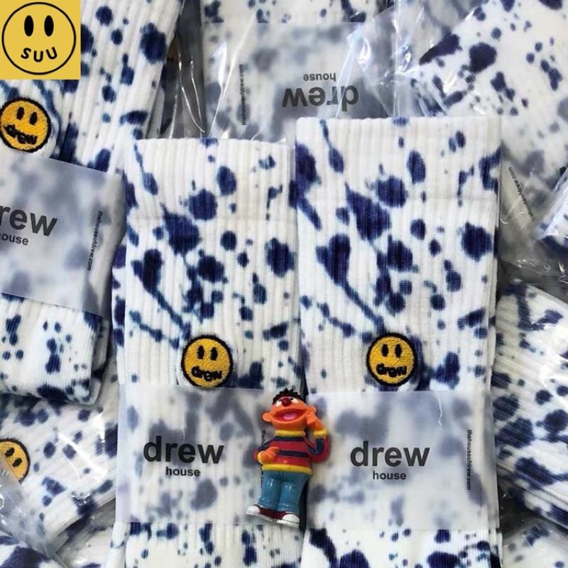 [Suu代購]Drew House藍色潑墨笑臉刺繡棉襪長襪