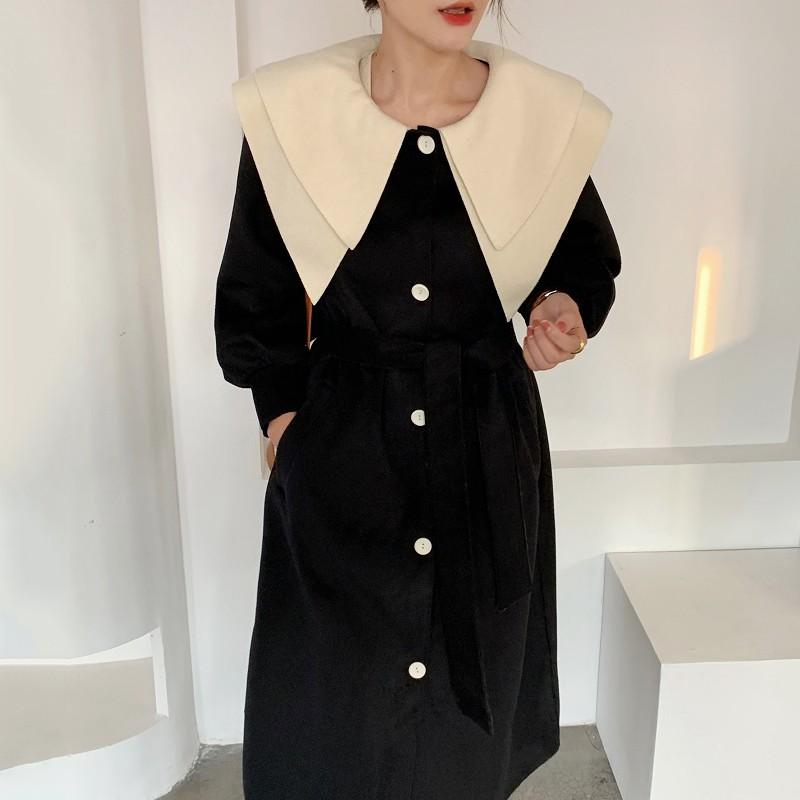 ☌韓國chic秋冬復古雙層大翻領撞色單排扣綁帶收腰泡泡袖雙面呢外套