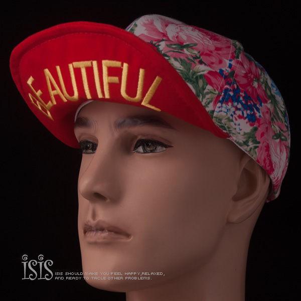 KURO-SHOP韓國進口 花朵、紅色軟帽沿 BEAUTIFUL 電繡 棒球帽