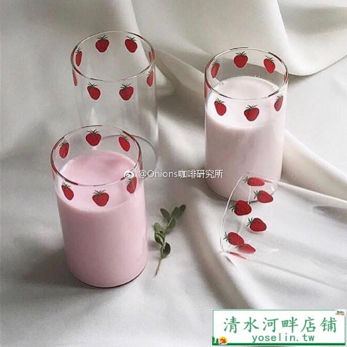 清水河畔店铺-漫畫版NANA草莓玻璃杯 高硼硅耐熱玻璃 可愛草莓牛奶杯 漫畫周邊
