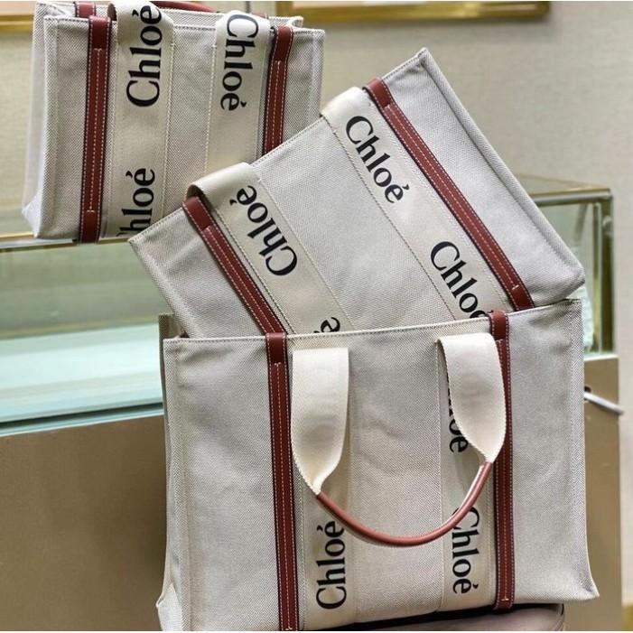 頂級原單 爆款 Chloe Woody tote手袋 肩背包 帆布購物袋 2021新款克洛伊托特包 手提包