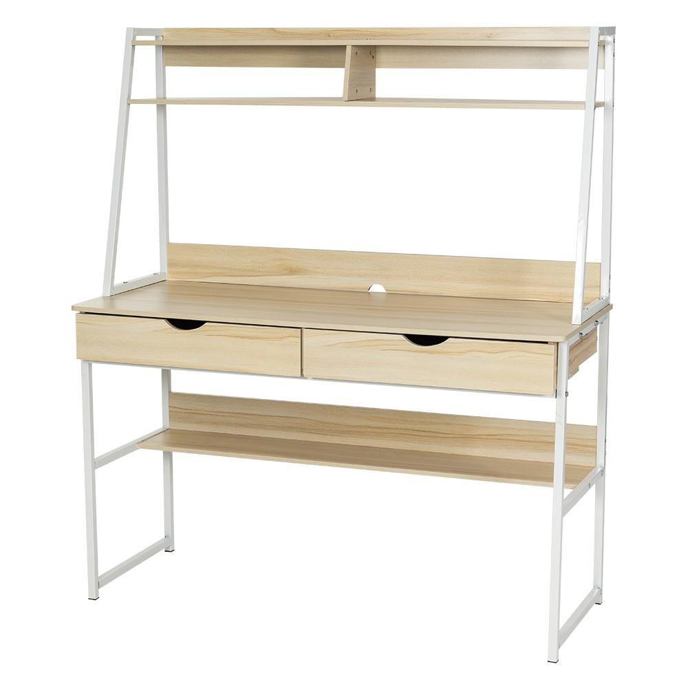 簡約風 多層書桌架 雙抽屜 加大桌面 電腦桌 工作桌 辦公桌 學生書桌 桌子 多功能 複合式書桌 書櫃【A093】