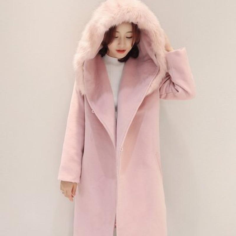 韓版 冬季新款 名媛風 優雅 仿狐狸毛 戴帽 長版大衣 外套