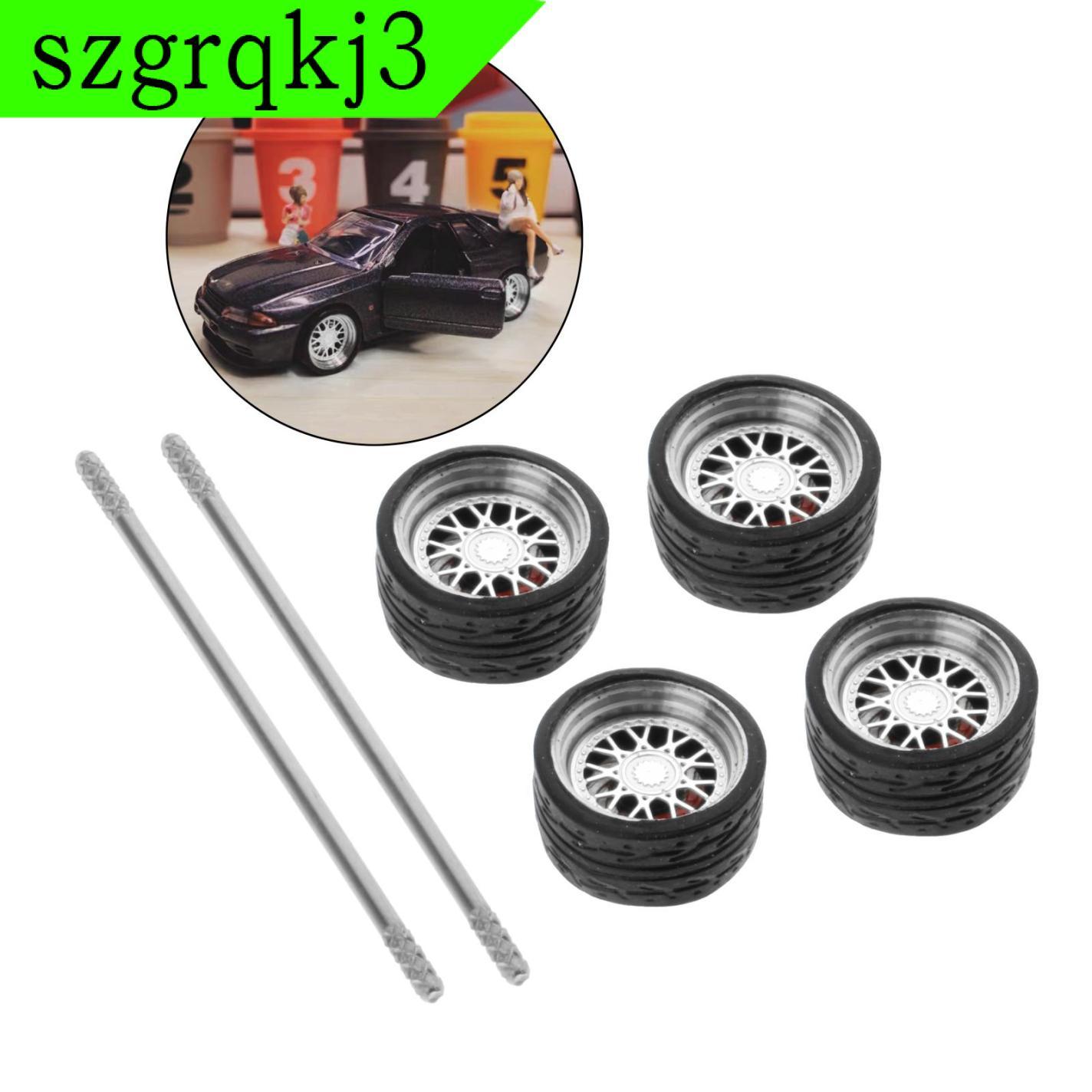 WenZhen Music 4件/套1/64公路模型汽車車輪和輪胎熱車輪備件E1