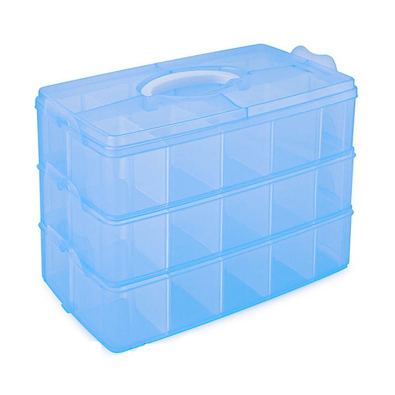 土城現貨 收納盒透明/藍色/橘色/粉色可選 (30格)