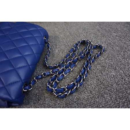 Chanel A35200 mini square 荔枝紋 藍 銀鍊 / 金鏈