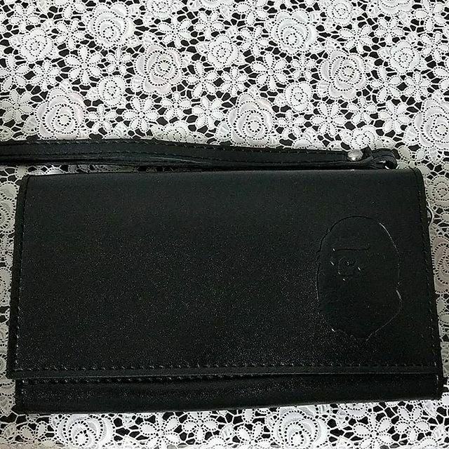 APE BAPE 猿人 鋼印 LOGO 長款皮夾 手拿包 日本雜誌贈品 長18*寬10cm