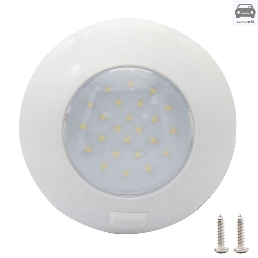 24 LED 圓形燈汽車圓形吸頂燈房車船用室內燈防水 12V 白燈