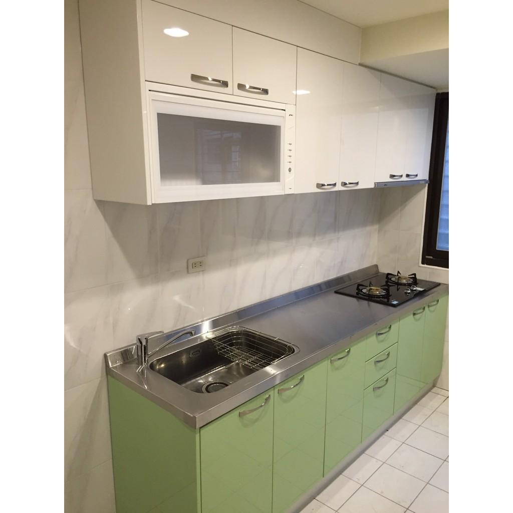 晶潔廚具 免費丈量 專業安裝  木芯桶+結晶五面門+白鐵檯面上下櫃240cm 搭配豪山三機