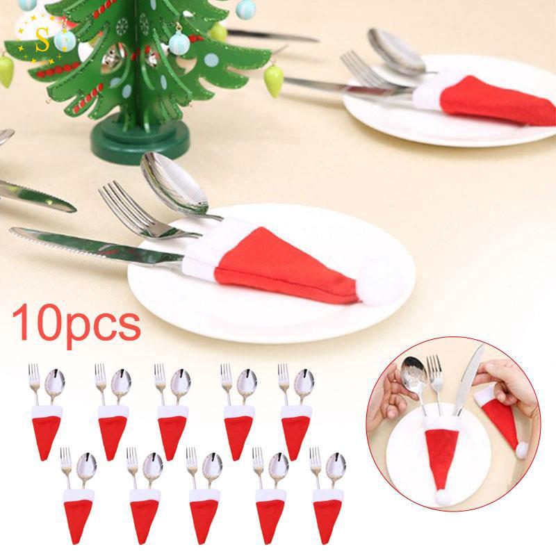 餐具套袋餐具套聖誕帽無紡布勺餐叉勺套