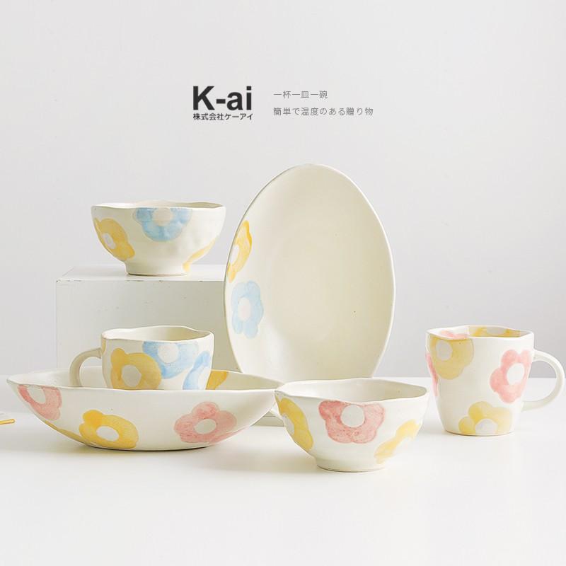 """""""可開立統編""""鍋小姐日本進口手工陶瓷花趣馬克杯可愛小清新水杯茶杯子碗盤餐具W.Q"""