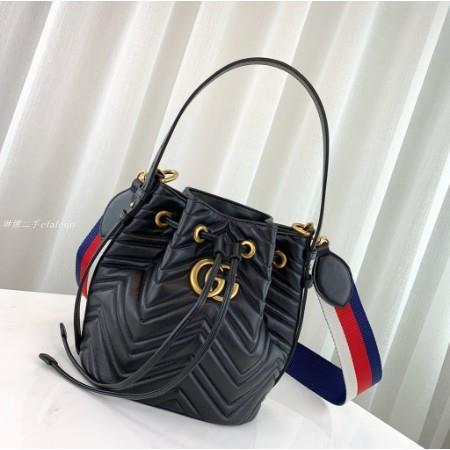 琳娜二手GUCCI GG Marmont quilted leather 水桶包 476674 黑色
