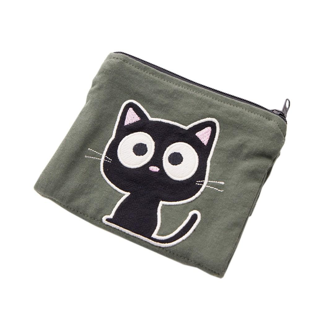 【Kiro貓】小黑貓 雙層 零錢包/面紙/衛生棉/口罩收納包【820168038】