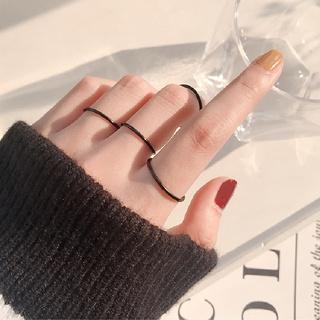 Bene 戒指套裝 5 件套簡約韓國時尚戒指女女孩時尚珠寶禮物黑色薄鈦鋼戒指 Cincin