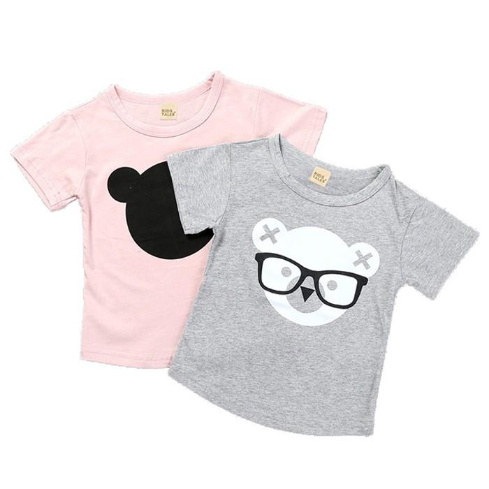 短袖上衣 眼鏡小熊 棉質上衣 卡通 短袖T恤 寶寶童裝 SK7721