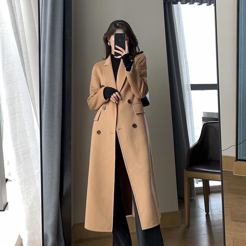 駝色呢子大衣女秋冬新款高端氣質韓版寬松加厚中長款毛呢外套美之戀♥