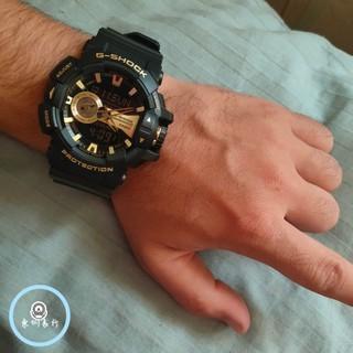CASIO 卡西歐 G-SHOCK 防水 防震 運動 機械手錶 男女款金屬系雙顯手錶 經典黑金 GA-400GB-1A9