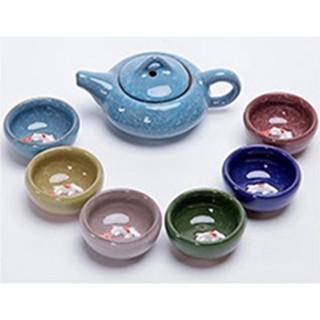 茶具套裝 冰裂茶具組 杯裡有鯉魚 立體的 6色杯 全新 送禮自用 茗客 茶具套裝 紫砂功夫整套 七彩冰裂釉茶壺組