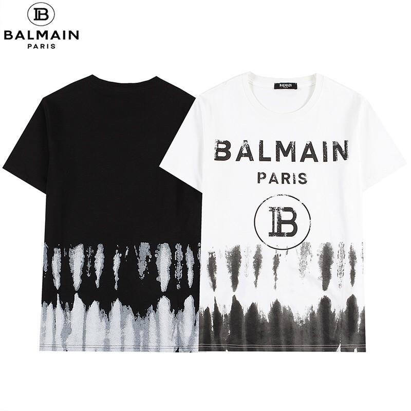 【黑卡】巴爾曼 Balmain21新款短袖T恤 漸變水墨畫logo百搭上衣 男女同款情侶tee