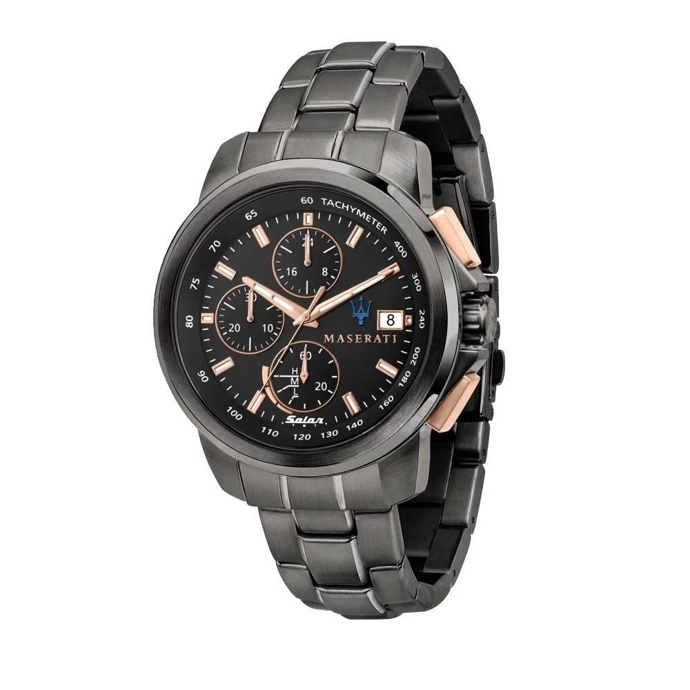 MASERATI 瑪莎拉蒂 SUCCESSO 光動能玫瑰金黑鋼腕錶44mm(R8873645001)