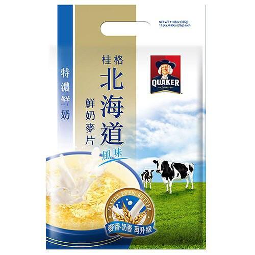 桂格北海道風味 麥香鮮奶麥片-特濃鮮奶 (28gX12包)/袋【康鄰超市】