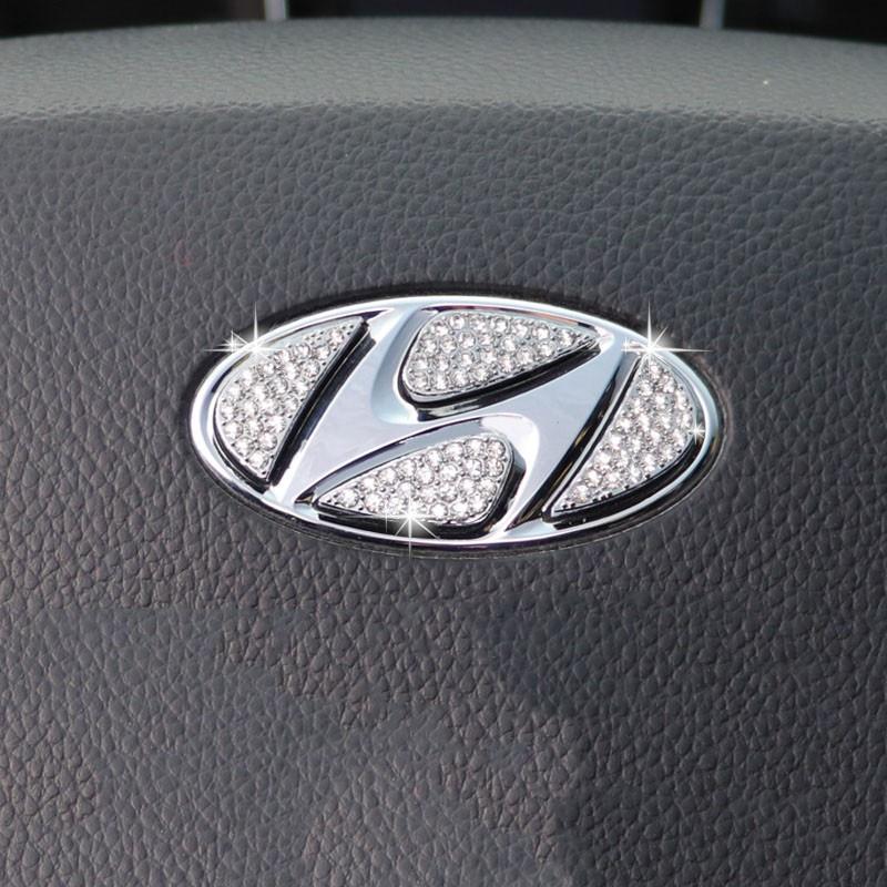 &現貨&Hyundai 現代 汽車 方向盤標 水鑽貼 車標貼 方向盤貼 氣囊標貼 Elantra Sonata Tuc